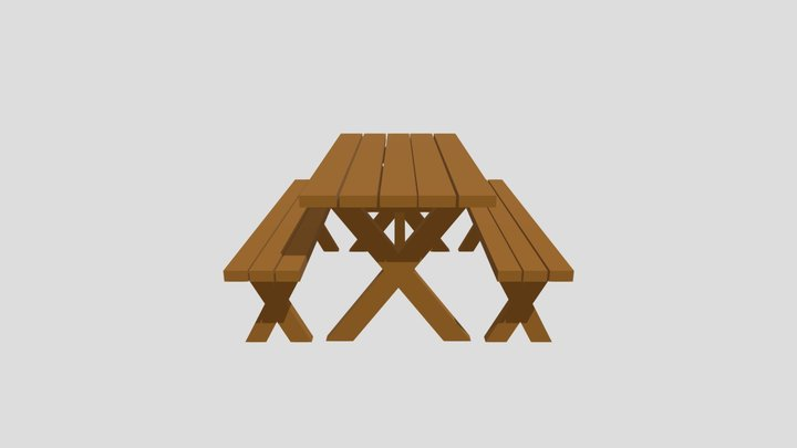 Wood Picnic Table with Separate Detached Benches 3D Model
