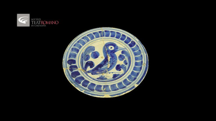 Blue fine pottery plate, catalan production 3D Model