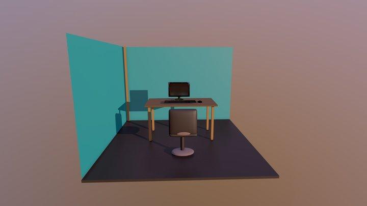 Desk Scene 3D Model