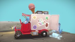 Little Ice Cream Truck 3D Model