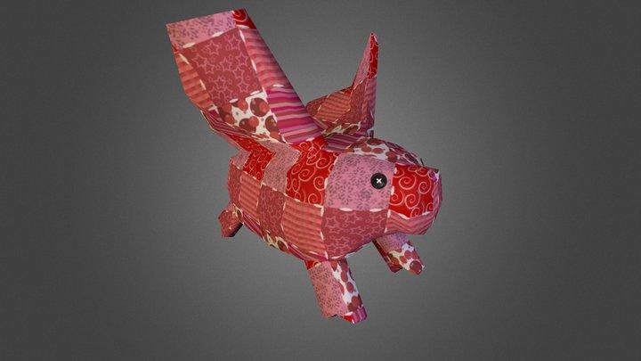 Handpainted Patchwork Piggy Plush 3D Model