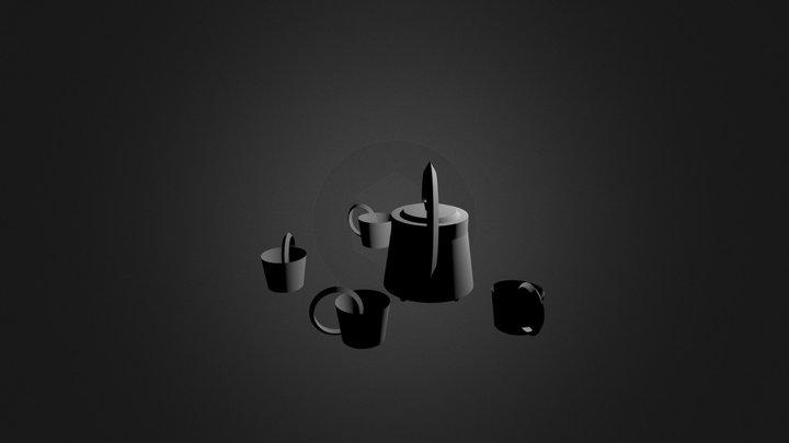 Midcentury Tea Set  3D Model