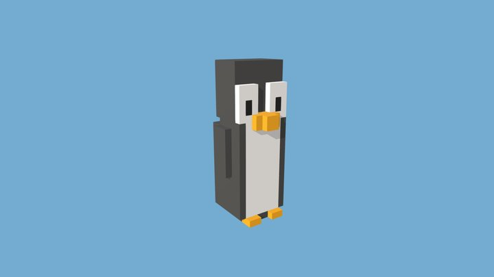 Voxel Pinguin Game Character 3D Model