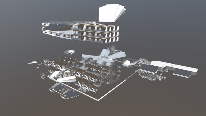 Hopper-Copter SWARM Vaccine Lab Satellite Runway 3D Model