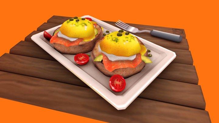 Stylised Eggs Benedict 3D Model