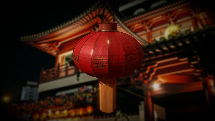Asian Chinese Paper Lucky Lantern New Year 3D Model