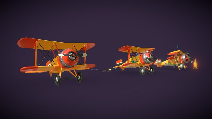 Airplane (three states of object)_Homework8 3D Model