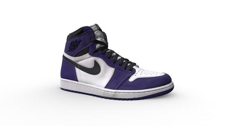 Nike Air Jordan 1 Retro High Court Purple White 3D Model