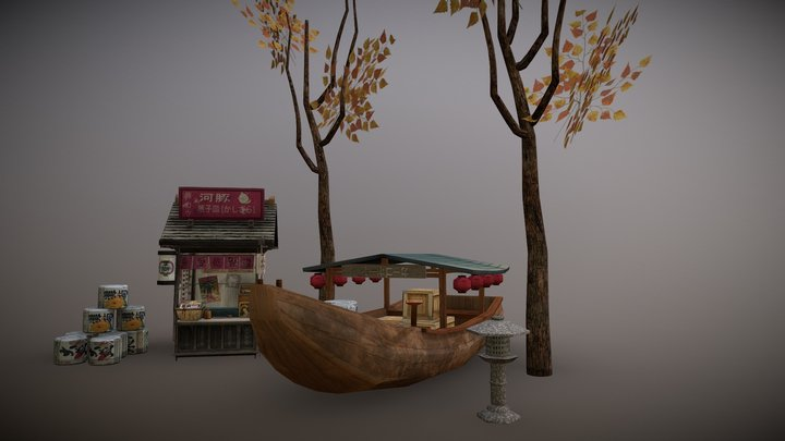 Kyoto Low Poly props 3D Model