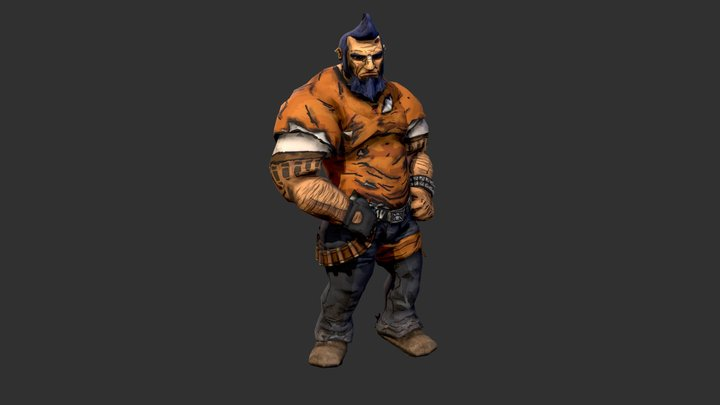 Salvador (from Borderlands2) - No weapons Idle 3D Model