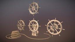 Old ship steering wheels 3D Model
