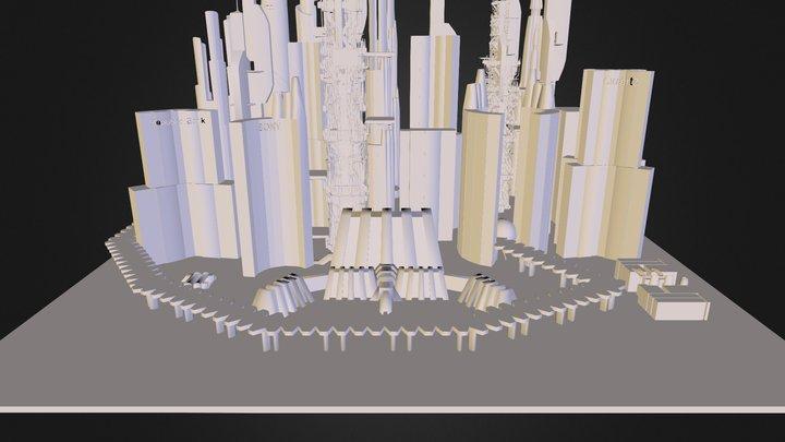 Scifi Downtown City 3D Model