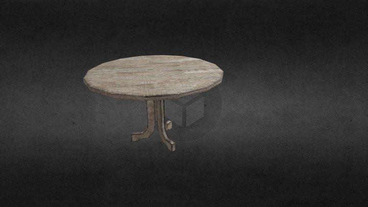 Dound wooden table / Meja kayu bundar 3D Model