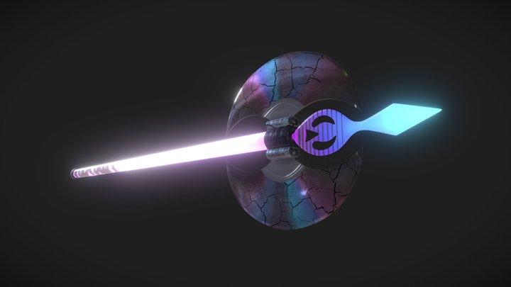 Retrowave neon axe 3D Model