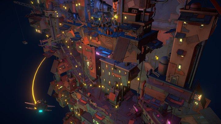Wall Town diorama 3D Model