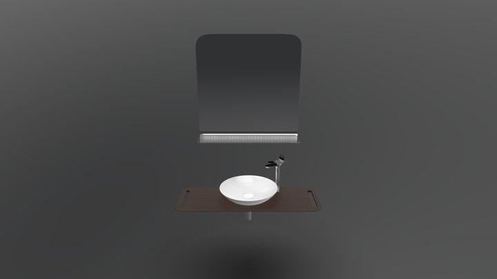 Foglia Curve Ayna Canak Lavabo - Dark Wenge 3D Model