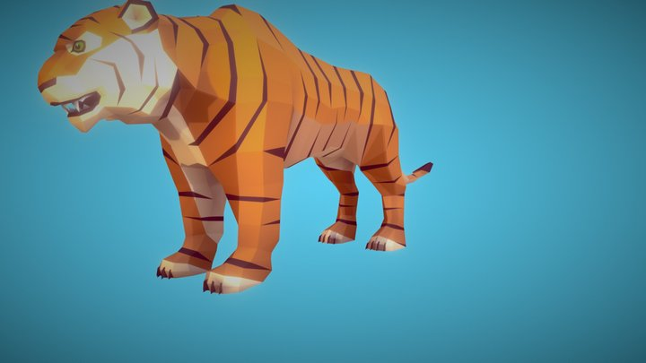 Poly Art: Tiger 3D Model