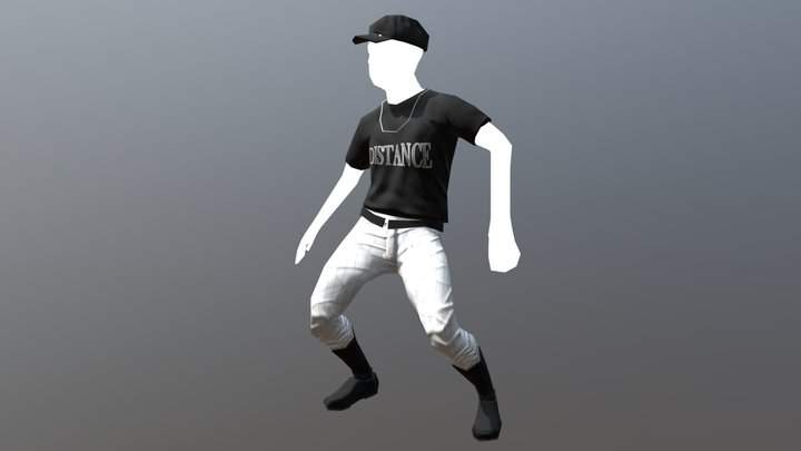 Animated baseball player 3D Model