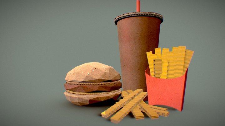Cardboard hamburger 3D Model
