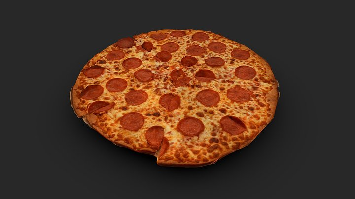 THIN CRUST PEPPERONI PIZZA 3D MODEL 3D Model