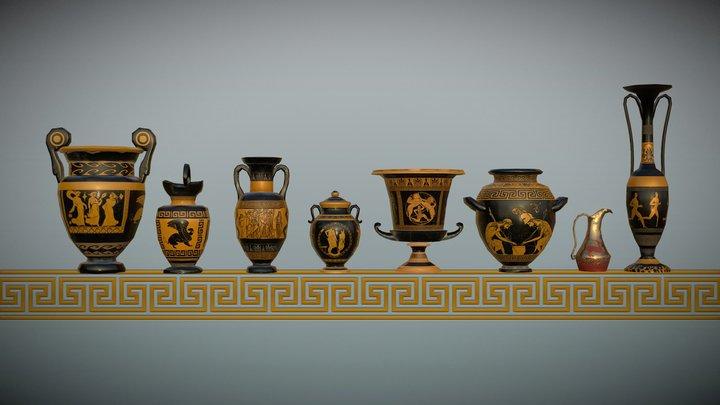 Low Poly Grecian Pots 3D Model