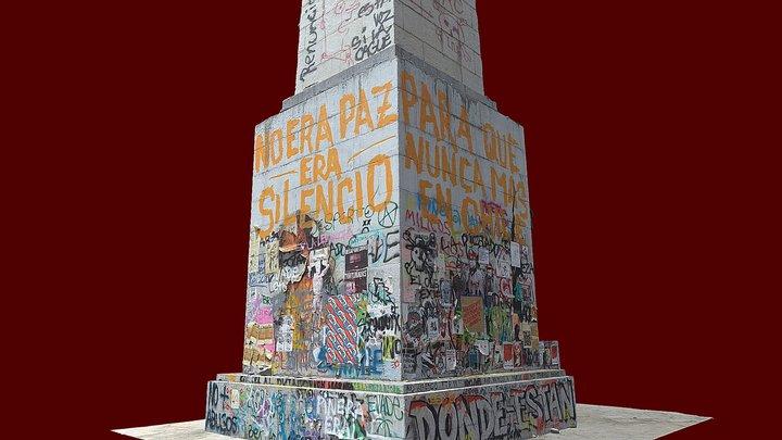 Obelisco tras protestas en Chile 2019 3D Model