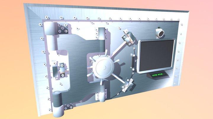 Vault Door and Wall 3D Model