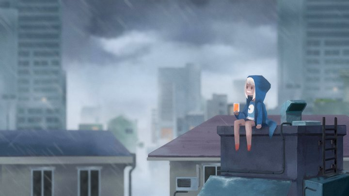 Rainy day (Chanins's illustration) 3D Model