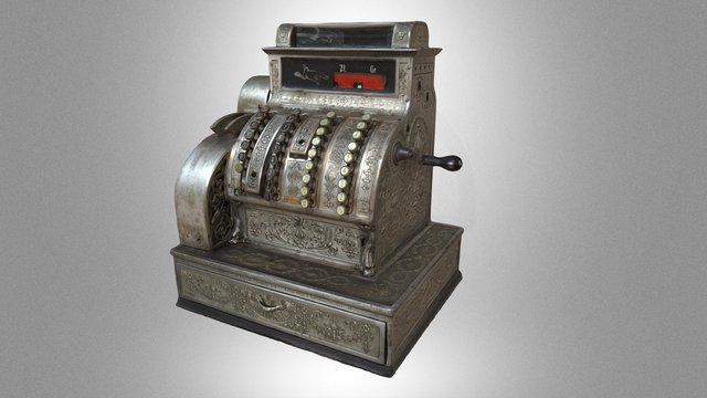 Cash register with a counting machine 3D Model