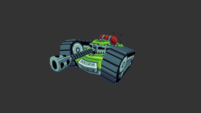 Pixel Art - Flamethrower Tank 3D Model