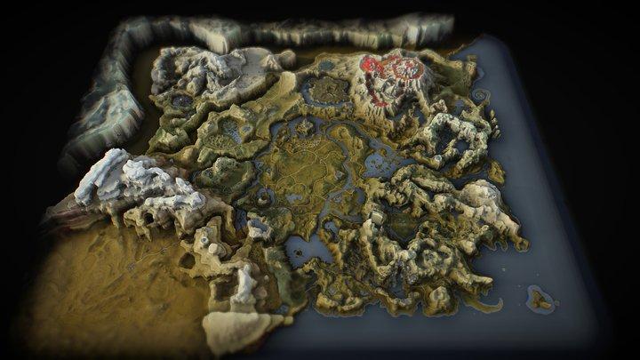 The Legend of Zelda: Breath of the Wild 3D Map 3D Model