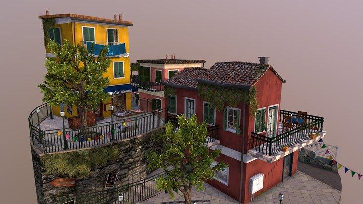 Cinque Terre Cityscene 3D Model