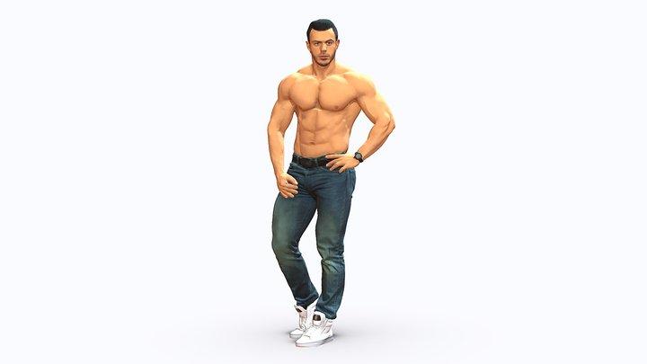 Naked torso man 0124 3D Model