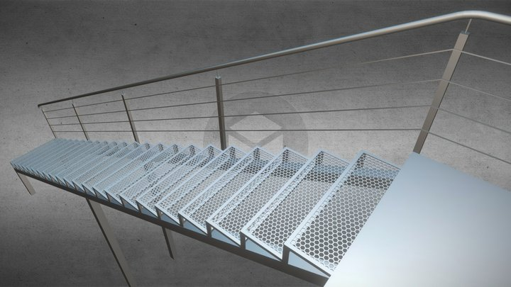Outer grid Stairs Metal-Frame 3D Model