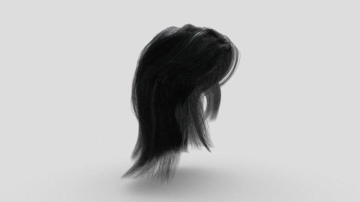 Long Black Hair for Character 3D Model