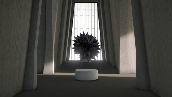 VR Gallery Brutalism Cross 2019 3D Model