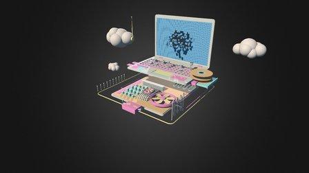 Toy Computer 3D Model