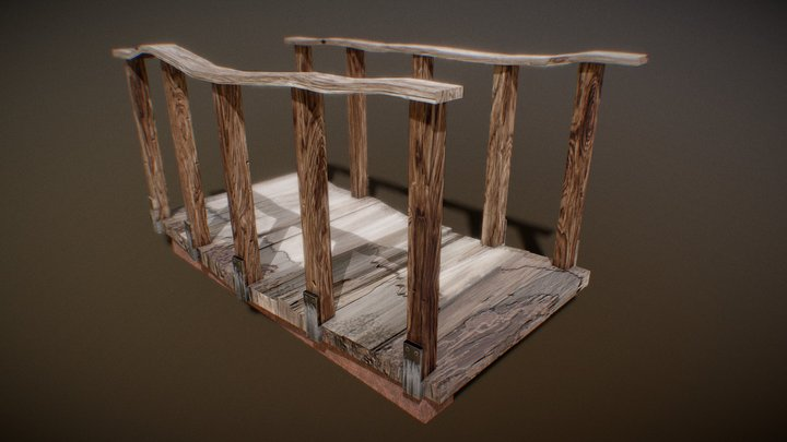 Restored Wooden Bridge 3D Model