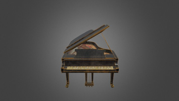 Golden Piano 3D Model