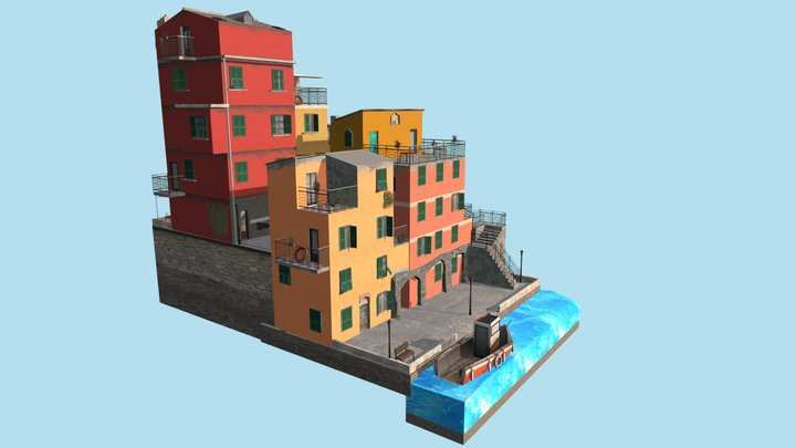 City Scene - Cinque Terre 3D Model