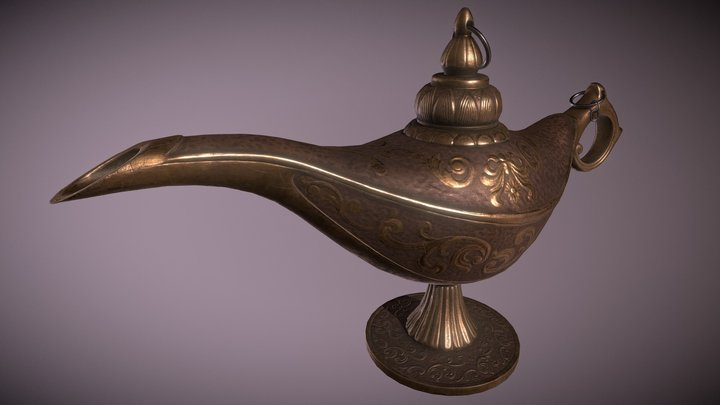 vintage the Genie's lamp PBR lowpoly 3D Model