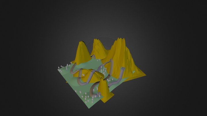 Mountains And Road 3D Model
