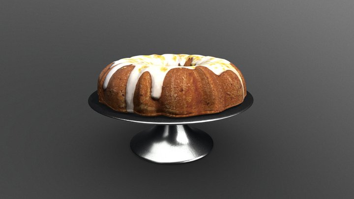 Bundt Cake on Metal Cake Stand with White Icing 3D Model