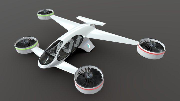 SBX eVTOL Flying Vehicle 3D Model