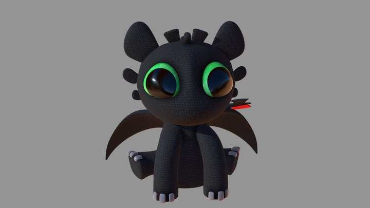 Toothless dragon plushie 3D Model