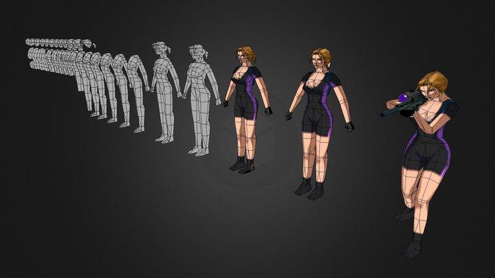 LowPoly character pipeline(Fear Effect 2 - Rain) 3D Model