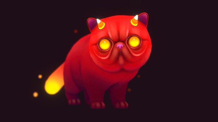 Candy Corn Demon Cat 3D Model