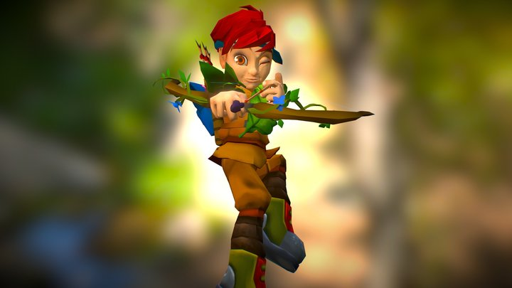 Leaf Man posed 3D Model
