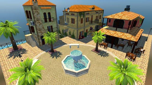 City scene inspired by Chania, Greece 3D Model