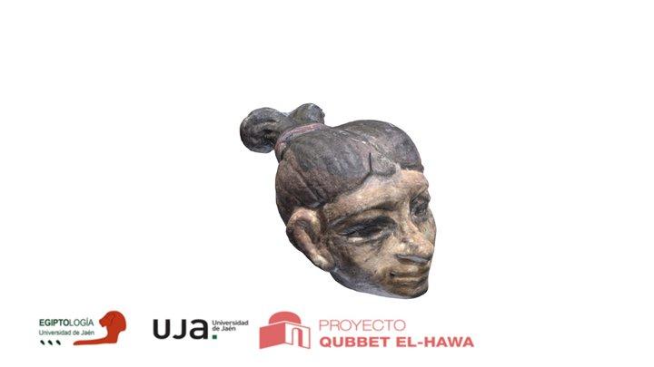 Pequeña cabeza pintada de piedra caliza. 3D Model
